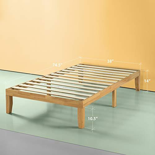 Zinus Moiz 14 Inch Wood Platform Bed / No Box Spring Needed / Wood Slat Support / Natural Finish, Twin