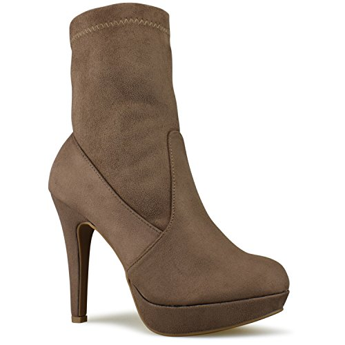 Premier Standard - Suede Sock Pull up Mid-Calf Bootie - High Heel Casual Comfortable Walking Boot Taupe