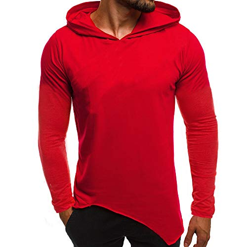 (iLXHD Mens Solid Casual Long Sleeve Hoodie Sweatshirt (Red,XL))