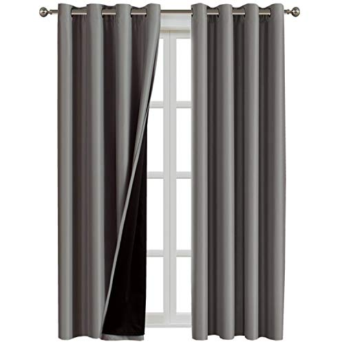 Flamingo P 100% Blackout Grey Curtains 108 inch Grey Faux Silk Satin with Black Liner Thermal Insulated Linded Double Layer Window Draperies Extra Long (2 Panels), Grommet Top, Gray (Drape Silk)
