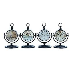 Benzara 92200 Metal Desk Clock, Assorted in Natural Shades, Set of 4
