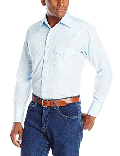 Wrangler Men's Sport Western Two Pocket Long Sleeve Snap Shirt, Light Blue, -