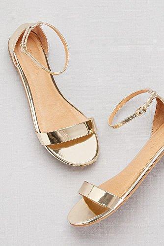 David's Bridal Single-Strap Mirror Metallic Flat Sandals Style Marlie, Gold Metallic, 10 by David's Bridal (Image #2)