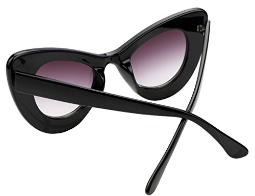 7e61f43aa0 FEISEDY Cat Eye Retro Acetate Frame Polycarbonate Lenses Women Sunglasses  Black