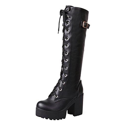 ENMAYER Womens Black PU Casual Platform Round Toe Lace up Block Heel High Heel Knee High Boots Party Dress Boots 9 B(M) US