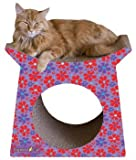 Imperial Cat Tower Tunnel Scratch 'n Shape, Retro Purple Floral For Sale