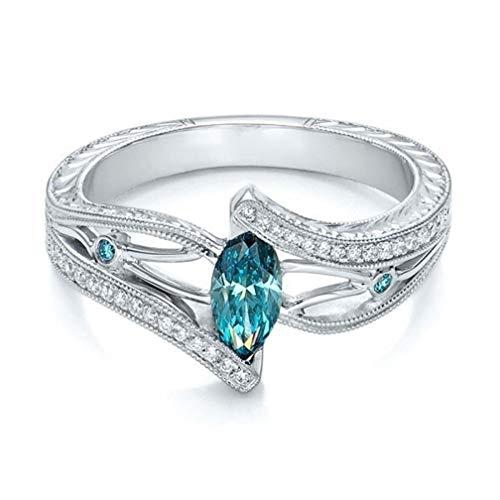 Amesii Womens 925 Sterling Silver Love Heart Zirconia Wedding Ring US 7-9