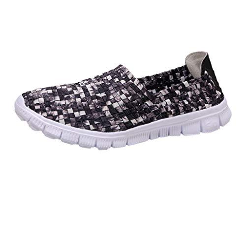 Goddessvan Women's Casual Shoes Couple Models Hand-Woven Shoes Breathable Elastic Belt Lazy Shoes -