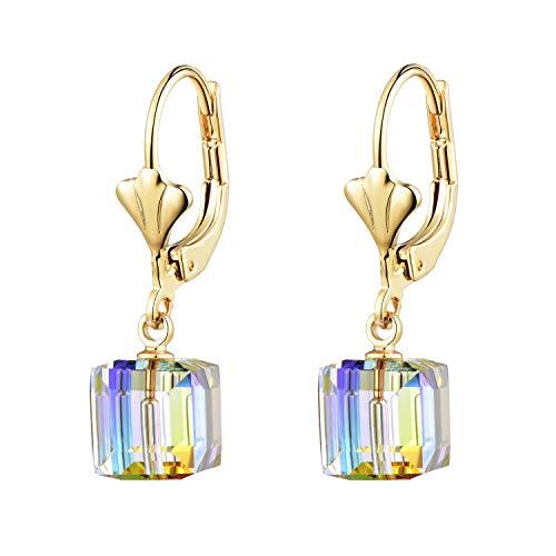 Swarovski Crystal Cube Drop Earrings for Women Girls 14K Gold Plated Leverback Dangle Earring (Aurora Borealis)