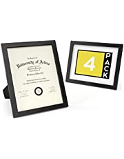 """ARTEZA Document Frame 8.5"""" x 11"""" Award Plaque 4 Pack - Real Glass Front - Solid Wood Finish - Mounting Hooks for Certificate Display"""