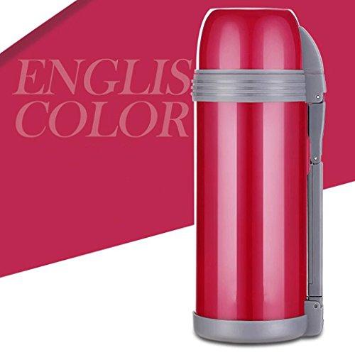 304 en acier inoxydable d'eau chaude de conservation de la chaleur de conservation de la chaleur de haute capacité pots d'isolation de voyage chaud pot chaud 1.8L ( Couleur : Rose )