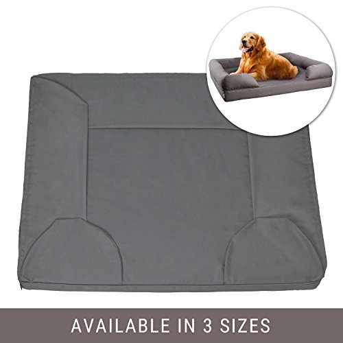 Replacement Cover Bed Pet (Petlo Gray Pet Sofa Bed Replacement Cover - Removable Water and Scratch Resistant - Machine Washable and Easy To Clean - Dual Zipper with Gusset - Large 36