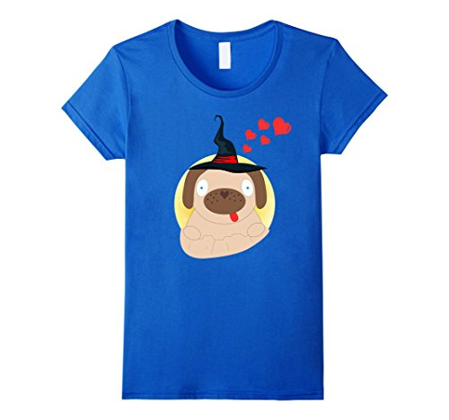 Puggles In Costumes (Womens Pug Dog Halloween Costume Shirt Witch Puggle Puppy Feminist XL Royal Blue)