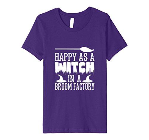 Kids Happy Witch in Broom Factory-Spooky Halloween T-Shirt Idea 8 Purple