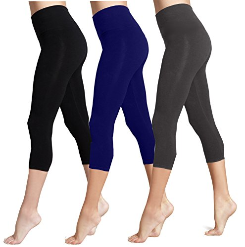 Lush Moda Seamless Capri Length Basic Cropped Leggings - Variety of Colors - Three-Pack (Black, Navy, Ch Grey) -