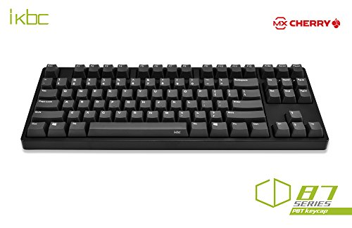 (iKBC CD87 Mechanical Keyboard with Cherry MX Blue Switch for Windows and Mac, Tenkeyless Wired Computer Keyboards with PBT OEM Profile Keycaps for Desktop and Laptop, 87-Key, Black Color, ANSI/US)
