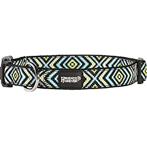 """Friends Forever Dog Collar Dogs - Fashion Woven Square Pattern Cute Puppy Collar, Green Small 11-16"""""""