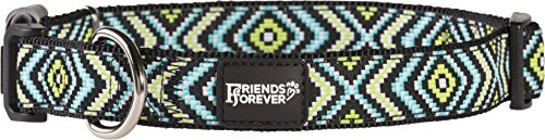 Product image of Friends Forever Dog Collar for Dogs - Fashion Woven Square Pattern Cute Puppy Collar, Green Small 11-16