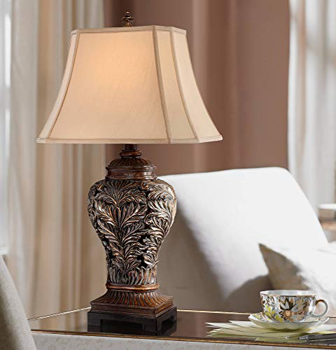 Leafwork Traditional Table Lamp Bronze Curling Leaves Tan Rectangular Shade for Living Room Family Bedroom Bedside - Barnes and Ivy ()