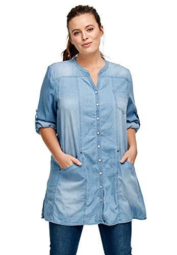 ellos Women's Plus Size Snap Front Denim Tunic - L, Bleach
