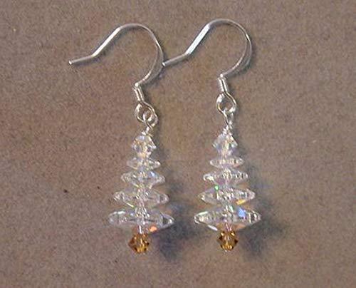 Silver Swarovski Crystal Christmas Tree Earrings Silver plated Crystal AB Christmas Jewelry