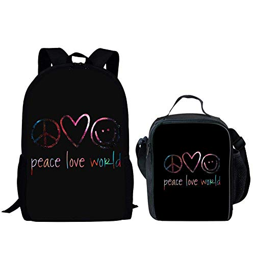 Ruiyida Peace Love World Kids School Backpack For Elementary Girl Boy Black by REDCAR (Image #1)