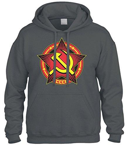Cybertela CCCP Star Sweatshirt Hoodie Hoody (Charcoal, Large)