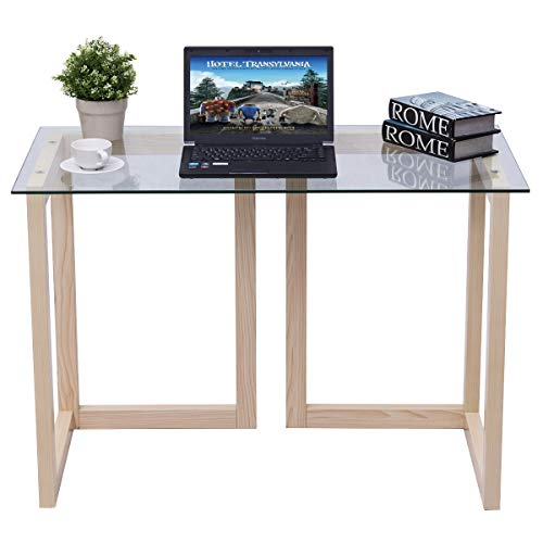 Tangkula Computer Desk Glass Top Computer Desk Modern Home Office Workstation with Spacious Glass Top Work Surface Laptop PC Desk Portable Study Writing Table Wood Frame and Clear Glass