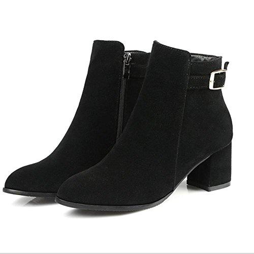 Grigio donne nero stagioni HQuattro stivali Fashion 38 fibbia di Belt Beige affilato gomma H tacco antiscivolo grey wXgTqx