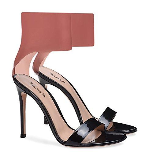 Court Fashion Sandali Peep Black Party Size handmade yc Elegant Casual Toe Donna Prom Da L Large IPAwqP