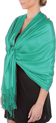 Sakkas Large Soft Silky Pashmina Shawl Wrap Scarf Stole in Solid Colors - Jade Green