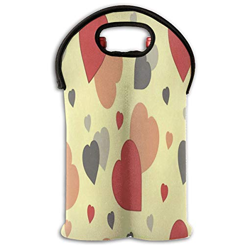 Wine Bag Abstract Hearts 2 Bottle Red Wine Tote Bag Cooler Water Handle Bag -