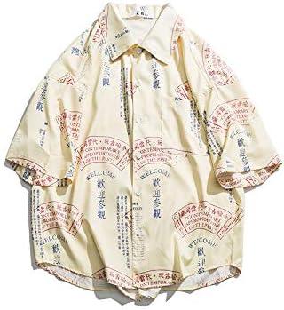DXHNIIS Camisas de época Impresas Completas para Hombres Camisas de Hombres de Gran tamaño Manga Corta Nuevas Camisas de Hombre XL Amarillo: Amazon.es: Deportes y aire libre
