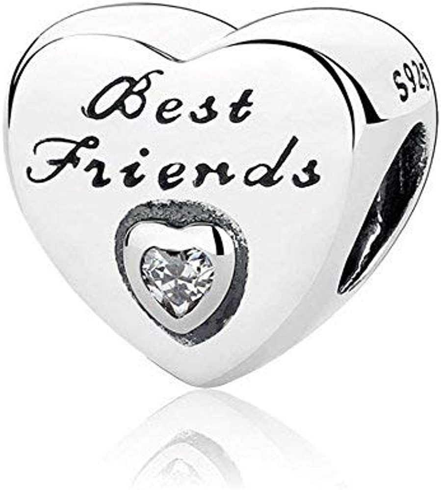 Romántico Amor Fit Pandora Bracelet Women's Daughter/Sister/Best Friend  BFF/Granddaughter/Dad/Thank You/Nana Heart Love Silver Charms