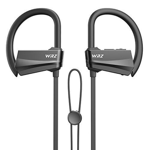 Wireless Headphones,WRZ Bluetooth 4.1 Earbuds Stereo in-Ear Earphones with Mic IPX7 Sweatproof for Sports Gym Workout Travelling (Black)