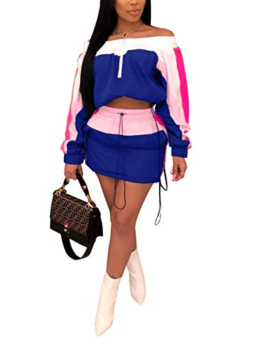Off Shoulder 2 Piece Outfit Color Block Long Sleeve Tops and Mini Skirt Set Blue - Block Skirt