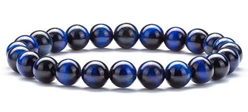 Hamoery Men Women 8mm Natural Stone Lava Rock Diffuser Bracelet Elastic Yoga Agate Beads Bracelet Bangle (Blue Tiger Eye)