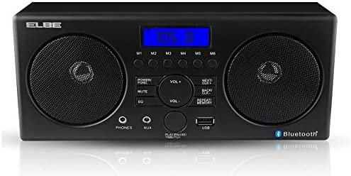 Elbe Radio Despertador con Bluetooth, color negro