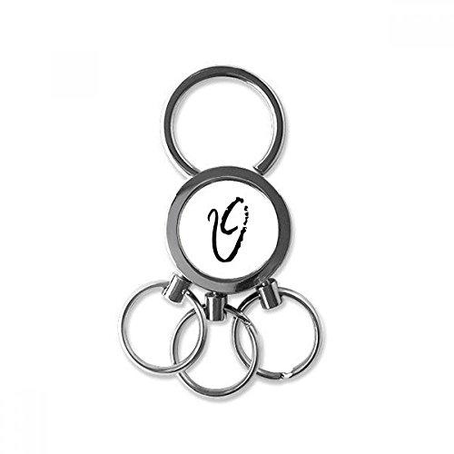(Greek Alphabet Theta Black silhouette Metal Key Chain Ring Car Keychain Trinket Keyring Novelty Item Best Charm Gift)