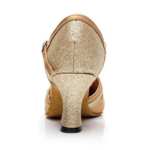 Minishion Qj7012 Womens Lage Dikke Hak Suede Ballroom Latin Danspompen Goud