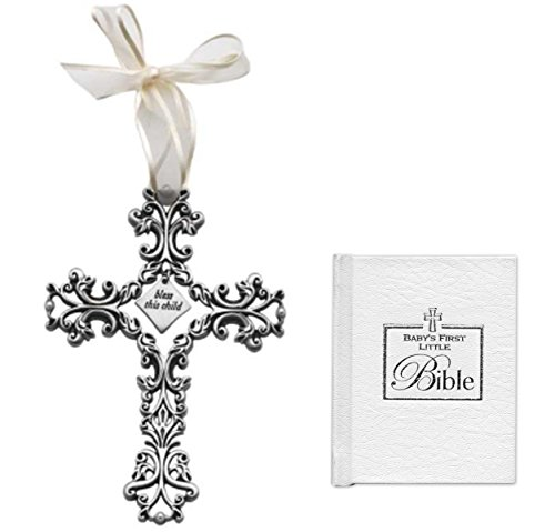 (Mixed Christening Gifts For Boy or Girl Gift Set | Pewter Bless This Child Filagree Cross With White Ribbon and Babys First Bible Gender Neutral Baptism Gifts)