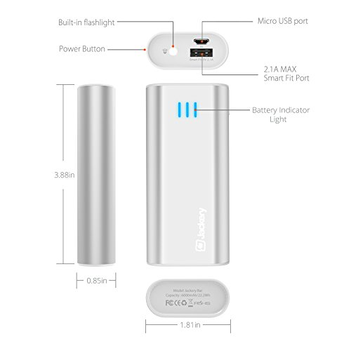 Jackery Bar Premium 6000 mAh External Battery Charger convenient Charger and potential Bank having Panasonic Battery Cells and featherweight aluminum Shell for iPhone iPad Galaxy many other intelligent solutions Sliver Batteries