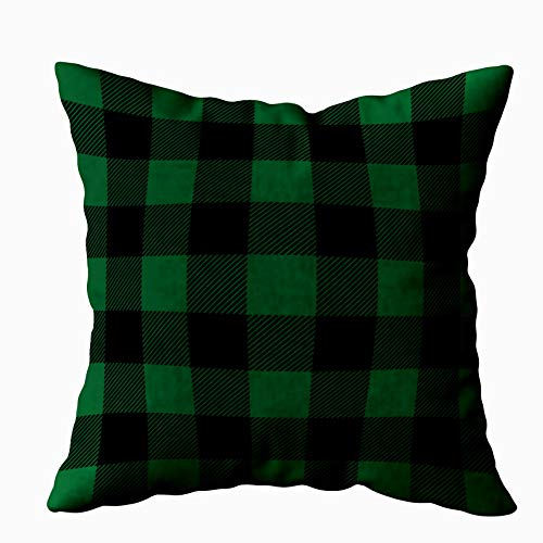 Capsceoll Black and Green Preppy Buffalo Check Plaid Decorative Throw Pillow Case 16X16Inch,Home Decoration Pillowcase Zippered Pillow Covers Cushion Cover with Words for Book Lover Worm Sofa Couch