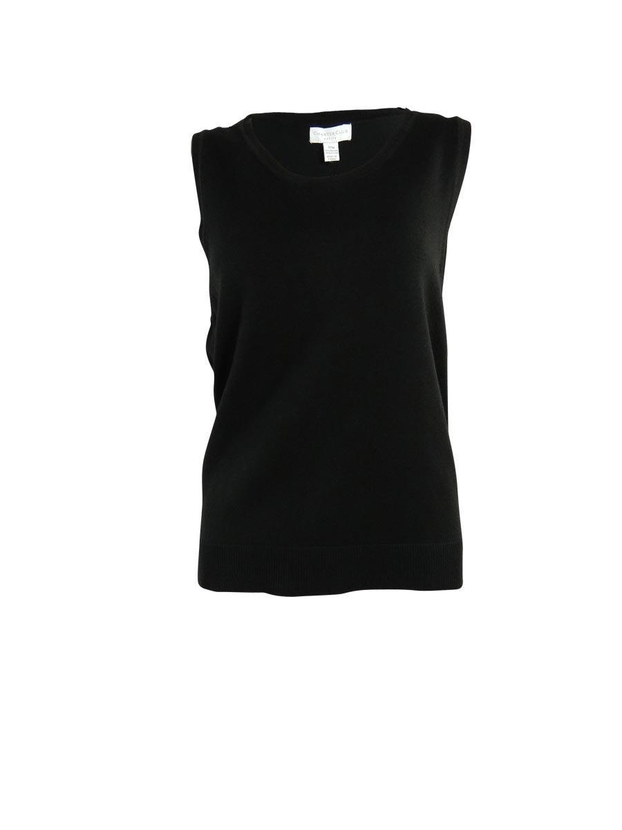 Charter Club Women's Crewneck Sleeveless Solid Knit Top (P/P, Deep Black)
