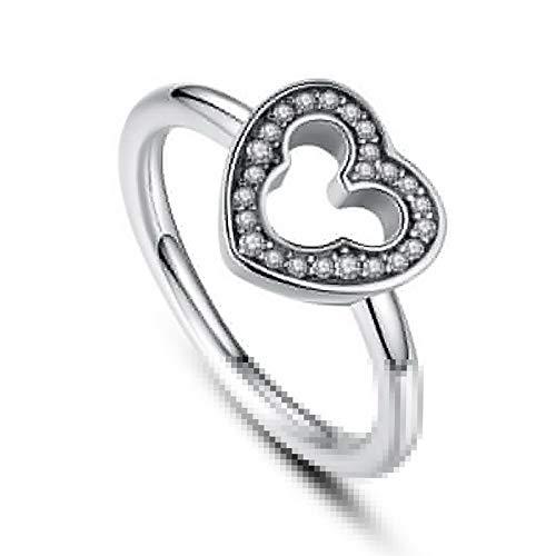 Waldenn Heart White Topaz 925 Silver Men Women Jewelry Engagement Wedding Ring Size 6-10 | Model RNG - 14694 | 9