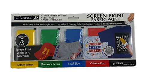 Next Style FX Screen Print Fabric Paint, 5-Pack