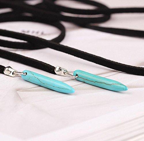 Gudeke Femmes Bohême de turquoise Pierre Teardrop Tear Clavicule Sweater Double collier pendentif 183 cm Chain