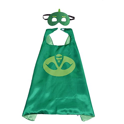 70CM x 70CM Comics Cartoon Dress Up Costume Satin Cape With Felt Mask (PJ Masks - Gekko)