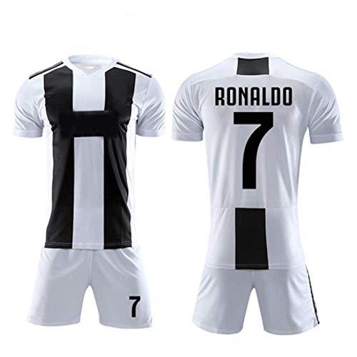 Juventus Football - JBIVWW Football Uniform Set - Juventus Football Club C Ronaldo 7# Home Jersey, Soccer League Sportswear Short-Sleeve Top and Shorts for Mens and Boys