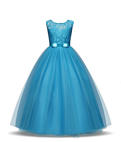 Dress Up Gown - ZerYoYus Little Girls Lace Princess Dress Evening Floor Tulle Wedding Party Gowns Girls Sleeveless Dress for 4-14 Years